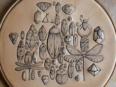 Tattooed leather original and unique artwork: Insects, beetles ,bugs hoop Handmade