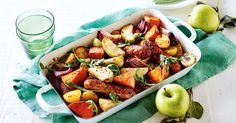 For a brilliant way to cook with fruit, try this tasty sausage and chunky apple tray bake.