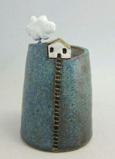 Stoneware ceramics pottery clay— vase pen holder with a little house Pottery Houses, Ceramic Houses, Ceramic Clay, Ceramic Painting, Ceramic Vase, Blue Pottery, Pottery Vase, Ceramic Pottery, Pottery Wheel
