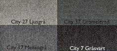 City 27 Ljusgrå / City 37 Gråmelerad / City 17 Mellangrå / City 7 Gråsvart Från LC Möbler City 27 Light Grey / City 37 Heather Grey / City 17 Mid Grey / City 7 Greyblack From LC Furniture