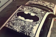 Amazing car art done with a Sharpie car art Batman Auto, I Am Batman, Superman, Batman Stuff, Pinstriping, Estilo Geek, Nananana Batman, Sharpie Art, Sharpies