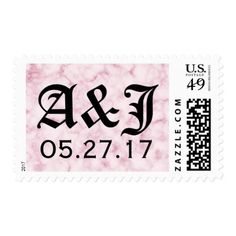 Blush Marble Wedding Postage Stamp