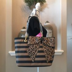 Betsey Bow-Lette Striped Tote, Spice HP Double top handles with 13@ drop, top magnetic closure, 3 inside open pockets, 1 inside zip pocket, gold trim chains & gold studded bow. NWT. HP chosen 5/12 by Kelly @kkayo4410, Best in Bags Betsey Johnson Bags