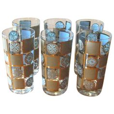 Mid Century Turquoise & Gold Geometric Tumblers - Set of 6 from WhimsicalVintage Exclusively on Ruby Lane