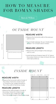 How to measure your windows for #custom Roman shades! | via @barnandwillow #myBWhome More