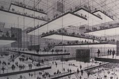 Drawing of an exhibition hall with floating levels.  Conrad Roland, 1963