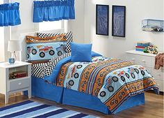 Monster Trucks Boys Full Comforter Set + BONUS VALANCES & TOSS PILLOW (11 Piece Bed In A Bag) Creative Kids http://www.amazon.com/dp/B00UF1TYEM/ref=cm_sw_r_pi_dp_n7dpvb1JERSRJ