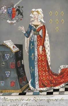 Marguerite de Rohan, Countess of Angoulême and Perigord Medieval Life, Medieval Fashion, Medieval Clothing, Medieval Art, 15th Century Fashion, 15th Century Clothing, 14th Century, Medieval Costume, Medieval Dress
