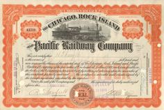 Chicago, Rock island, and Pacific Railway Company 1915 (steam train America) Central Pacific Railroad, Railroad Companies, Rail Car, Retro Vector, Coin Values, Rock Island, Vintage Labels, Vector Design, Money Frame