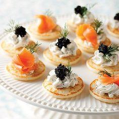 Mini Blinis with Smoked Salmon and Caviar