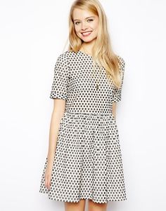 ASOS Smock Dress With Spot Broderie