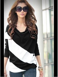 Casual Style Loose-Fitting Cowls Neck Long Sleeves Cotton Blend Stripe T-Shirts For Women. Love this website, so inexpensive Look Fashion, Korean Fashion, Fashion Beauty, Womens Fashion, Cheap Fashion, Fashion Site, Fashion Black, Dress Fashion, Fashion Clothes