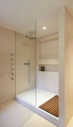 A shower is a place for relaxation so make sure you enjoy every bit of your experience to the fullest. Check out 32 Modern Shower Designs to Accommodate. bathroom decor 32 Modern Shower Designs to Accommodate in Different Bathroom Decors Ensuite Bathrooms, Bathroom Floor Tiles, Bathroom Layout, Bathroom Interior, Room Tiles, Bathroom Renovations, Small Bathrooms, Bathroom Furniture, Design Bathroom