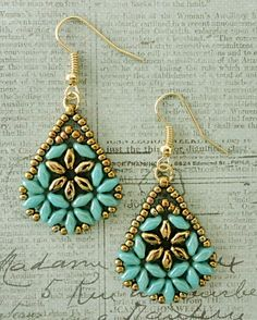 Linda's Crafty Inspirations: Bethany Earrings & Duo Kheops Set - Baby Blue & Gold