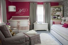 Liz Carroll Interiors: Adorable baby girl's nursery design with peony paint color paired with Cole & Sons Lily ...