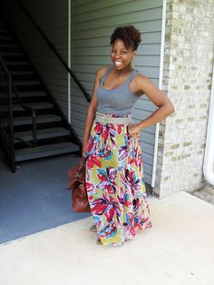Savvy Lou: Maxi Dress refashioned into a Maxi Skirt DIY. No sewing required!