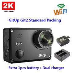 93.09$  Buy now - http://alibqs.worldwells.pw/go.php?t=32732273139 - Original GitUp Git2 Standard Packing 2k Wifi Sports Camera  Full HD For Sony IMX206 16MP Sensor+Extra 1pcs battery+ Dual charger