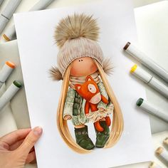 Baby Painting, Doll Painting, Painting For Kids, Art For Kids, Pencil Art Drawings, Cute Drawings, Drawing Cartoon Faces, Dibujos Cute, Color Pencil Art