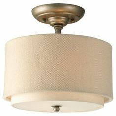 """Wrapped in thistle weave and toasted linen, this semi-flush mount's double drum shade adds a crisp natural touch to your decor.  Product: Semi-flush mountConstruction Material: Metal and linenColor: Toasted linen and antique goldFeatures:  Double drum shadeIncludes chain and ceiling mountUL listed Accommodates: (2) 75 Watt medium base bulbs - not includedDimensions: 10.25"""" H x 10"""" Diameter Note: Dimmers can be used with any incandescent or halogen light bulbs"""