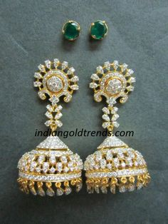 Latest Indian Gold and Diamond Jewellery Designs: Diamond Jhumkas with Changeable Stones