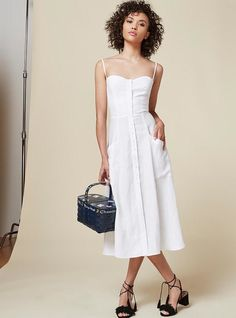 White house, white dress — are you seeing the connection that we are? Between the pristine white hue, the demure length and sweetheart neckline of this dress, it's absolute perfection. And, as with any Reformation dress, you can count on your carbon footprint being minimal with your purchase. Reformation Canon Dress, $198. thereformation.com.