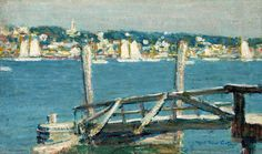 """""""Gloucester Harbor,"""" Will Howe Foote, oil on board, 5 x 8 1/2"""", The Cooley Gallery."""