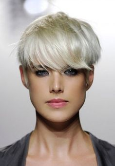 She looks like a beautiful fairy pixie! For white-blonde hair like model Agness Deyn, apply MANIC PANIC Virgin Snow toner to already bright blonde hair. The toner takes out any warmth or brassiness in your blonde. Crop Hair, Short Hair Styles, Hairstyle, Short Cropped Hair, Hair Trends, Hair Inspiration, Hair Beauty, Hair Looks, Womens Hairstyles