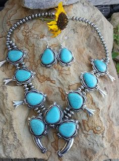 COWGIRL Southwest Faux Turquoise SQUASH BLOSSOM Western NECKLACE SET #HANEE