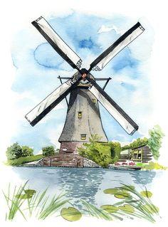 Kinderdijk Windmill: Archival art print of a painting of a Dutch windmill at Kinderdijk, The Netherlands Watercolor Architecture, Watercolor Landscape Paintings, Landscape Drawings, Windmill Drawing, Windmill Art, Dutch Windmill, Karten Tattoos, Netherlands Windmills, Easy Watercolor