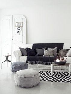living room: black + white + grey