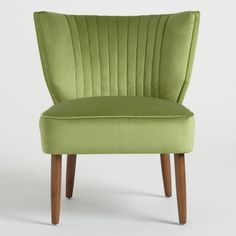 Featuring a channel-tufted back, tapered wood legs and velvety green fabric with a subtle sheen, our Bretta slipper chair is quite the looker. Green Fabric, Living Room Decor, Accent Chairs, Wood, Furniture, Home Decor, Drawing Room Decoration, Upholstered Chairs, Decoration Home