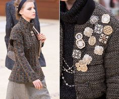 When it came to Chanel, King Karl knew just how to give his classic tailored tweed a 2015 feel by attaching seriously chic and vintage-looking pins (and lots of 'em.) Read more at http://www.look.co.uk/fashion/shop-the-accessory-that-fashion-week-just-brought-back-31187#A8B2ZsJdtmOolMuU.99