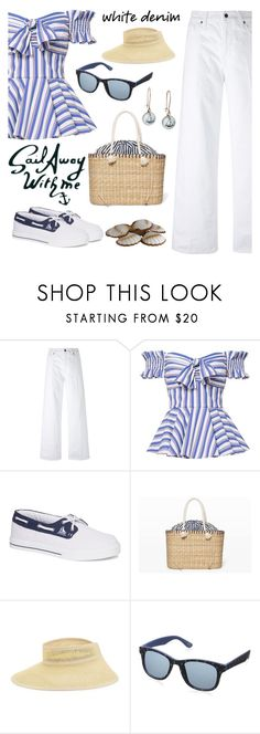 """""""Sail Away With Me"""" by rev2fashion ❤ liked on Polyvore featuring Vince, Caroline Constas, Club Monaco, Parkhurst, Foster Grant, Chart Metal Works and whitejeans"""