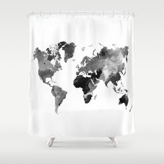 Shower Curtains Art Shower Curtain Bathroom Design 42 World Map Grey Scale art L.Dumas by artbyLucie on Etsy