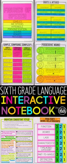 Sixth Grade Language Interactive Notebook. Cover all Common Core Language standards for Grade in an engaging and memorable way. 6th Grade Writing, 6th Grade Reading, 6th Grade Ela, Middle School Reading, Middle School English, Middle School Classroom, Sixth Grade, High School, Seventh Grade