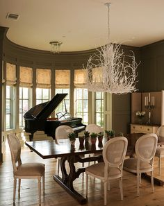 white cain-back chairs, twig chandelier