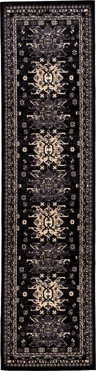 Black Heriz Design Area Rug