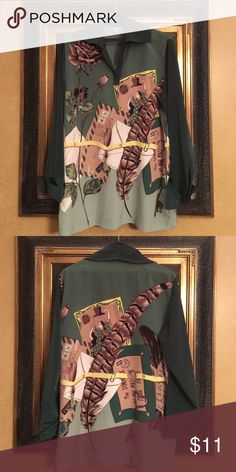 LS green blouse Tokuko L/S blouse. Greens and tans. Polyester Tops Blouses