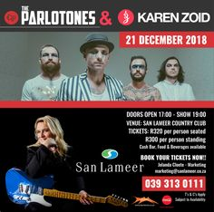 The Parlotones ✔️ Karen Zoid  ✔️  Make sure you don't miss out on our highly anticipated Summer Concert. Date: 21 December 2018 Venue: San Lameer Country Club  Contact Jolanda Cloete - Marketing: marketing@sanlameer.co.za / 039 313 0111.  Book your tickets now to avoid disappointment! 5 Star Spa, Tropical Paradise, Disappointment, December, How To Apply, San, Club, Marketing, Country