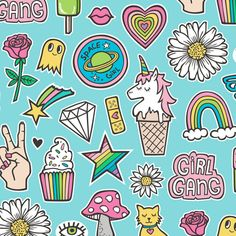 Patches Stickers Doodle Unicorn Ice Cream, Rainbow, Hearts, Stars, Gemstones, Love and Flowers on Blue fabric by caja_design on Spoonflower - custom fabric