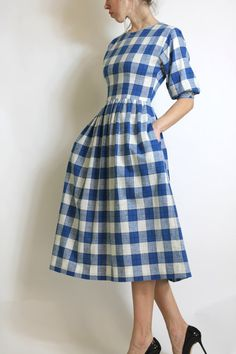 Gingham Vintage Blue and White Checked Plaid by AutoluxeVintage