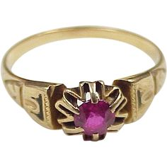 Edwardian Era Ruby .40 Carat Solitaire Ring 18k Gold. $350 @ Ruby Lane