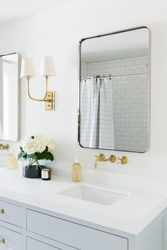 Steel Gray Bath Vanity Cabinets with Vintage Brass Wall Mount Faucets - Transitional - Bathroom Zen Bathroom, Neutral Bathroom, Transitional Bathroom, Gold Bathroom, Bathroom Faucets, Bathroom Interior, Small Bathroom, Bathroom Ideas, Bathroom Canvas