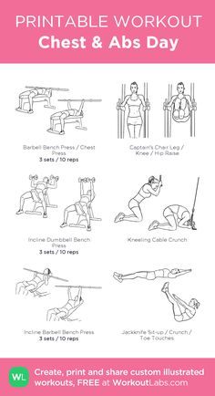 Chest & Abs Day: my visual workout created at WorkoutLabs.com • Click…