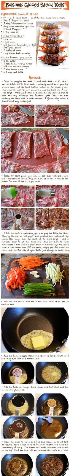 Balsamic Glazed Steak Rolls Recipe (Part-1)