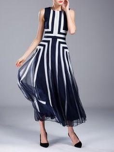 Printed Casual Sleeveless Stripes Maxi Dress