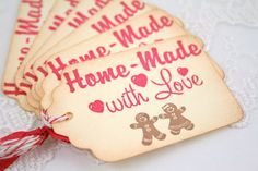 Gingerbread Man Christmas Tags Home Made Gift Tags. $6.50, via Etsy.