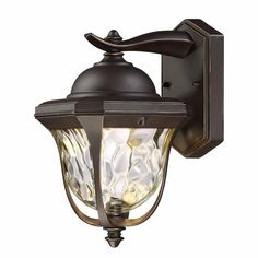 EnviroLite 14 in. LED Aged Bronze Patina Outdoor Wall Lantern with Clear Hammered Glass Shade-EV7067-246 - The Home Depot