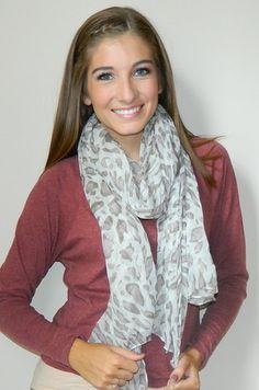 Cheetah Print Scarf (White/Gray) | Girly Girl Boutique