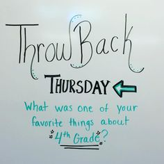 Throwback Thursday - What was one of your favorite things about grade? Morning Activities, Daily Writing Prompts, Was Ist Pinterest, Responsive Classroom, Classroom Community, School Classroom, Future Classroom, Classroom Ideas, Morning Messages
